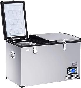 COSTWAY Car Travel Freezer, 105 Quart Compact 2-Door Portable Compressor Mini Fridge For Car and Home, Camping, Truck Party, Travel, Picnic Outdoor (105 Quart)