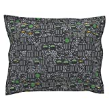 Roostery Steampunk Euro Flanged Pillow Sham Steamcontrols - Steel by Bonnie Phantasm Natural Cotton Sateen Made