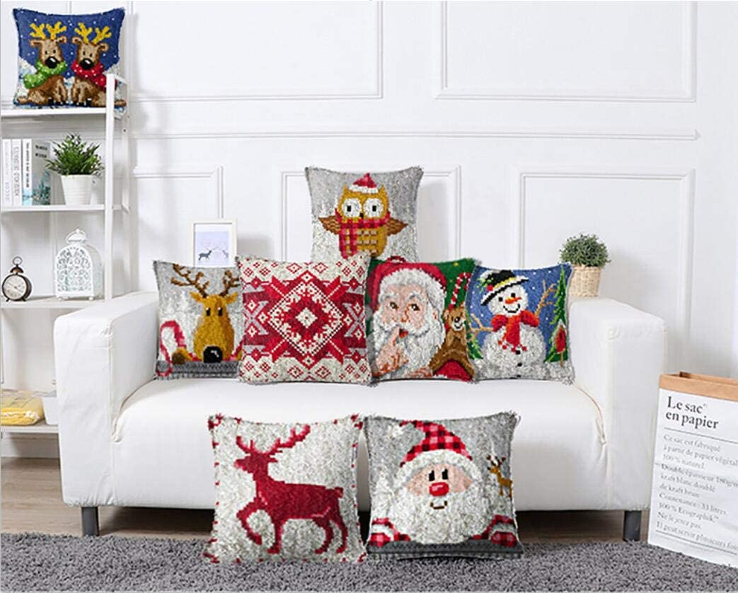 Latch Hook Kits DIY Throw Pillow Cover with Printed Christmas Reindeers Pattern Shaggy Decoration Needlework for Kids//Adults 17 x 17