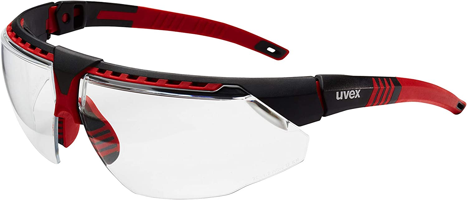 Uvex by Honeywell Avatar Safety Glasses, Red Frame with Clear Lens & Anti-Scratch Hardcoat (S2860)