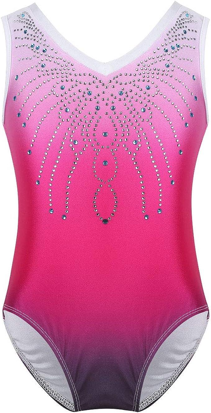 Big Girls Ballet Dancewear Leotard Sleeveless Turtleneck Bodysuit with Lace Back