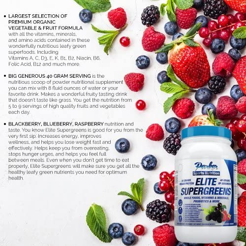Elite Supergreens is Premium Organic Green Superfood with Very High End Ingredients in All Categories. Very Large 40 Gram Serving Size Provides 5 to 9 Servings Wholesome Fruits & Vegetables Nutrition