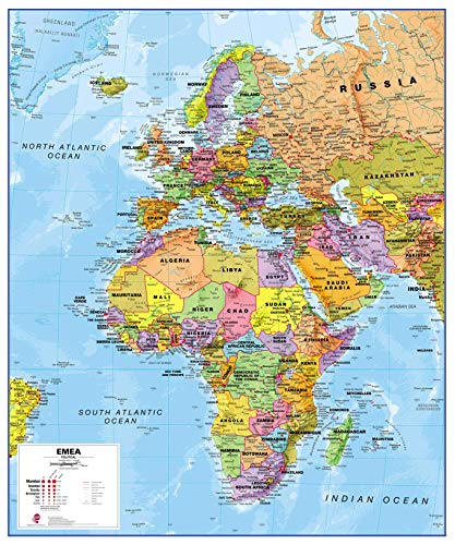 Maps International Political Europe Middle East Africa (EMEA) Map - Laminated - 39 x 47 (Map Of Europe Middle East And North Africa)