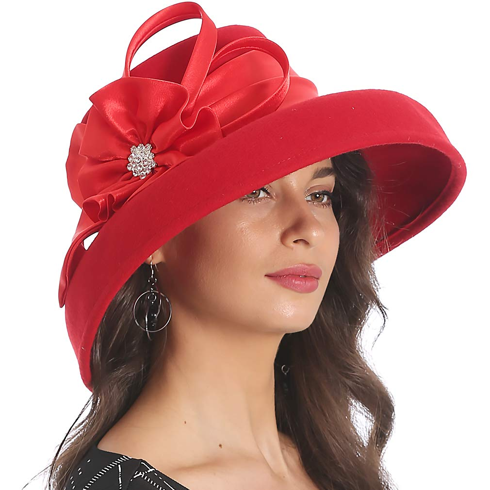 FORBUSITE Women Wool Felt Hats Church Dress Hat for Winter Vintage Handmade Red