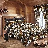 20 Lakes Woodland Hunter Camo Comforter, Sheet, Pillowcase Set (King, White & Black)