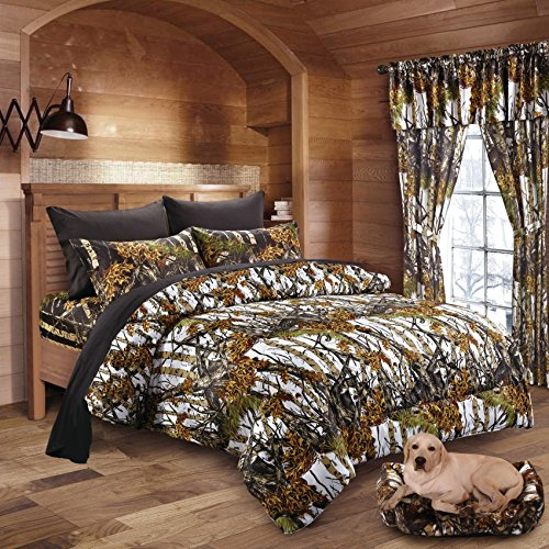 20 Lakes Woodland Hunter Camo Comforter, Sheet, Pillowcase Set (Queen, White & ()