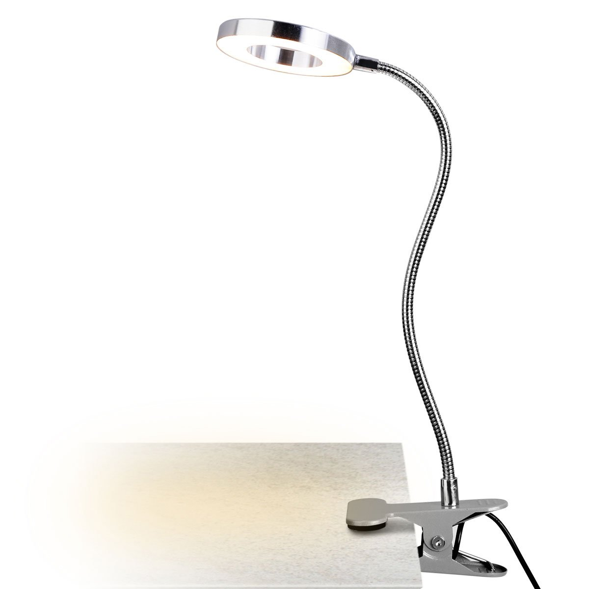 Warm /& Cool Light Color Energy Class A+ 7W LED Clip on Reading Light Clamp Book Light Table Desk Lamp Eye-Care Lamp Black