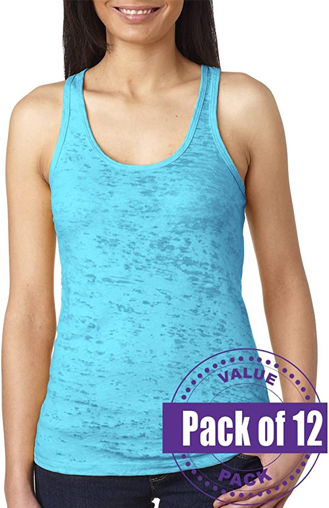 Next Level Womens Burnout Racerback Tank Top N6533-Tahiti Blue 12 Pack