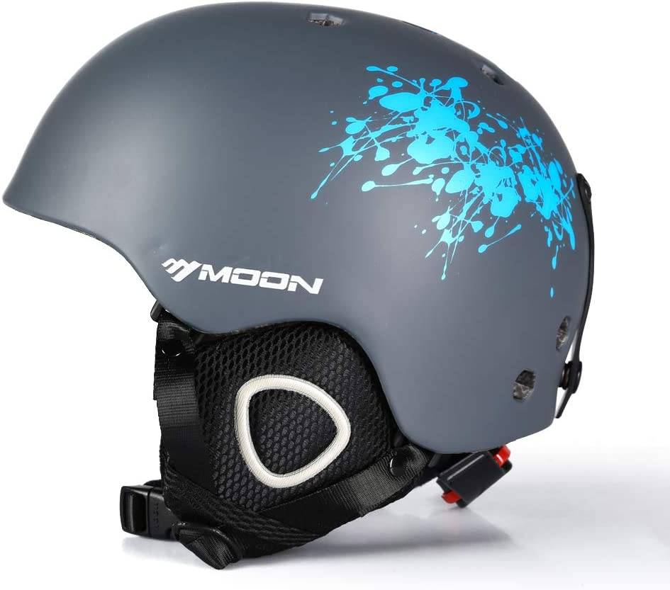 MOON Ski Helmets Men Women Youth, 350g with Chin Care Removable Thickened Earmuffs 11 Vents, for Sking Skateboarding Snowboarding Winter Extreme Sports