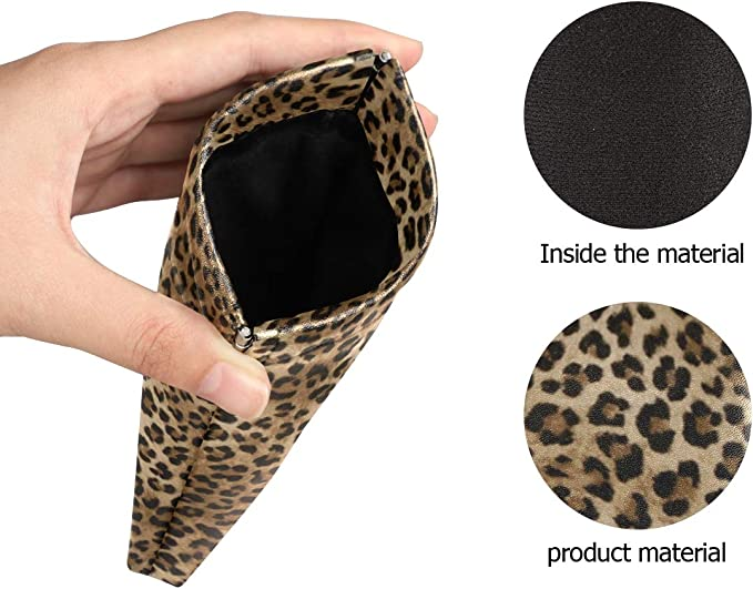 XMCL Animal Leopard Skin Sunglasses Case Portable Multiuse Glasses Holder Pocket Eyeglass Accessories for Women Man