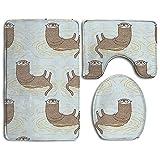 Bath Mat,3 Piece Bathroom Rug Set,Sea Otter Flannel Non Slip Toilet Seat Cover Set,Large Contour Mat,Lid Cover For Men/Women