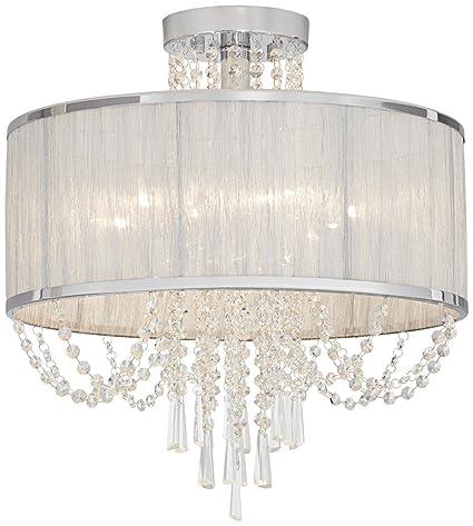 Ellisia 19 34w silver organza shade chrome ceiling light ellisia 19 34quotw silver organza shade chrome ceiling light aloadofball Gallery