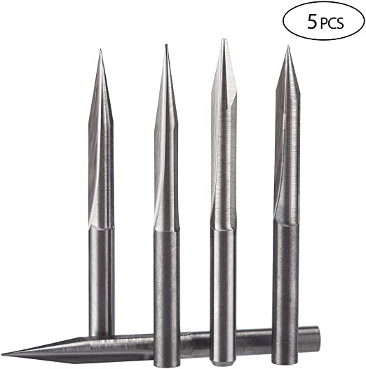 "5x 1//8/"" 3.175mm 30 deg 0.5mm Tungsten Carbide Engraving Bits CNC Router Tool"