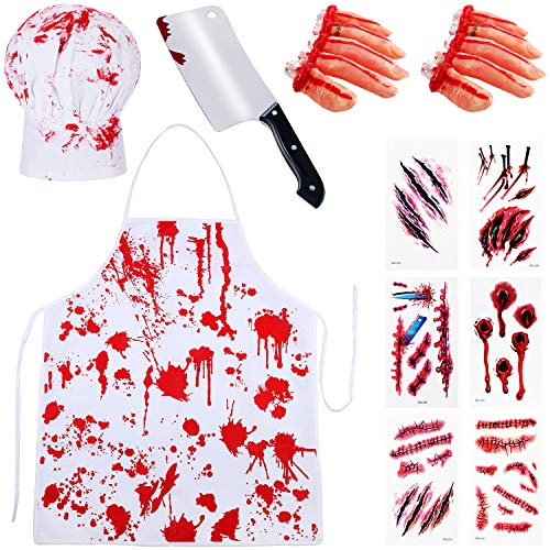 Dead Waitress Halloween (19 Pieces Halloween Bloody Costume, Blood Apron Chef Hat Fake Knife Bloody Severed Fingers Halloween Wound Scar Pattern Tattoo for Haunted House)
