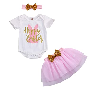 4b0612c57cc WISWELL Baby Girl Easter Skirt Set Infant Baby Girls Bunny Letter Romper + Tutu  Dress +