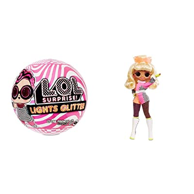 L.O.L. Surprise! Lights Glitter Doll with 8 Surprises Including Black Light Surprises w O.M.G. Lights Speedster Fashion Doll with 15 Surprises: Toys & Games