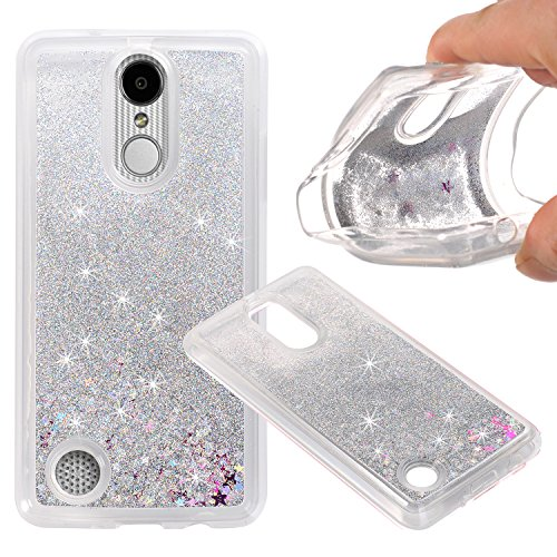 LG Aristo (MS210) / LG LV3 / LG K8 2017 Cover Case, NOKEA Soft TPU Flowing Liquid Floating Luxury Bling Glitter Sparkle Case Cover Fashion Design for LG V3/MS210 (Silver)