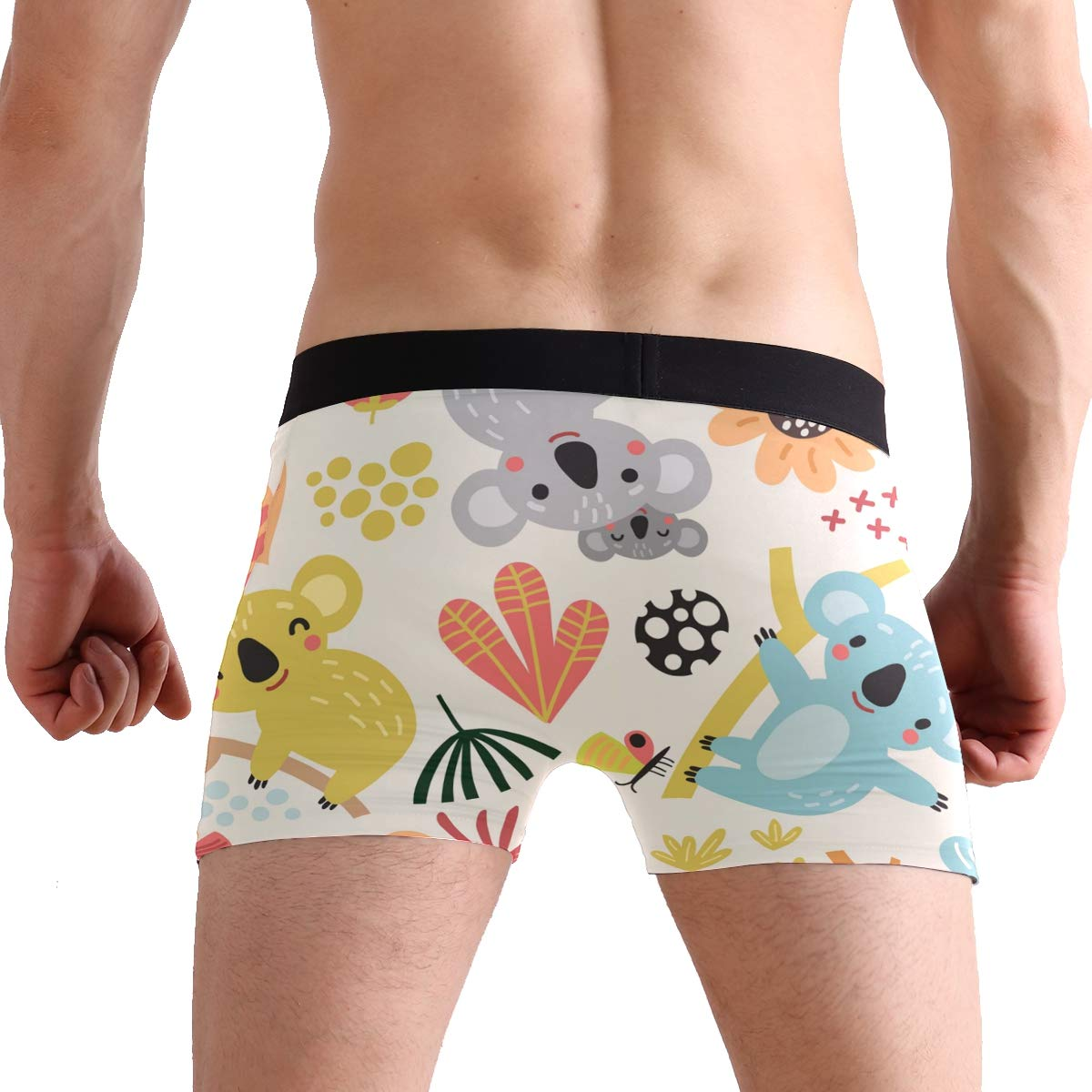 Koala Bears Play Happily On The Branches Men/'s Underwear Boxer Briefs Polyester Spandex Pouch,2-Pack