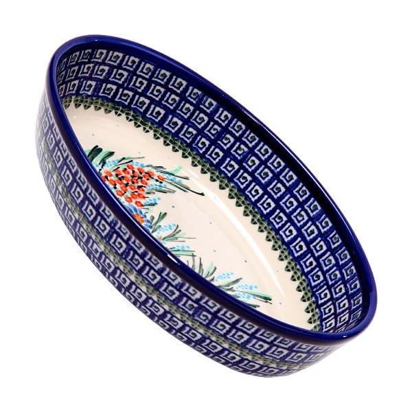 Polish Pottery Ceramika Boleslawiec-1210/169 9-2/3 by 6 7/10-Inch Oval Mirek Baker 2, Royal Blue Patterns, 5 Cups