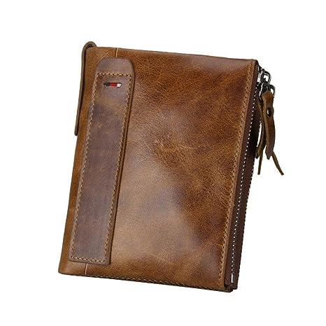 Billetera de cuero Pawaca con bloqueo de identificación por radiofrecuencia para hombres, de cuero genuino, doble cremallera y bolsillo para las ...