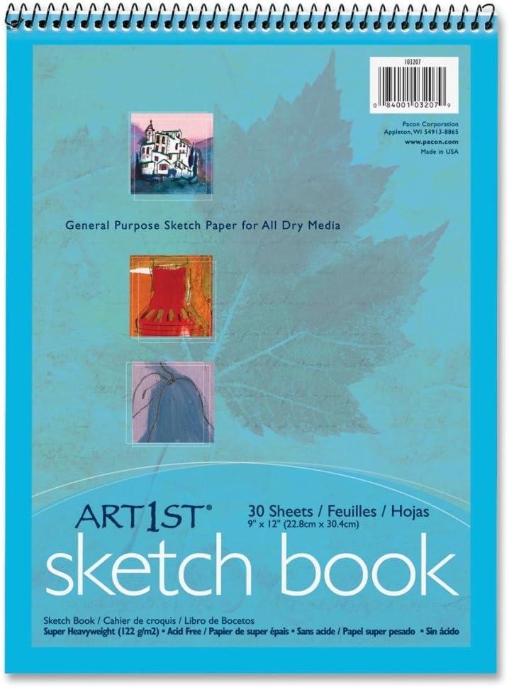 "Spiral Sketch Pad Book 9/"" x 12/"" Art Drawing Paper 30 sheets pencil pastel ink"