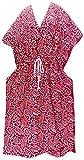 LA LEELA Cotton Batik Long Caftan Swim Dress Ladies Red_174 OSFM 14-22W [L-3X]