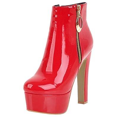 c64ae990ef9478 Artfaerie Damen Extreme High Heels Blockabsatz Ankle Boots Plateau Lack  Stiefeletten mit Reißverschluss Moderne Party Schuhe