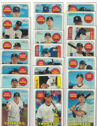 (New York Yankees / Complete 2018 Topps Heritage Baseball 22 Card Team Set! Includes 25 Bonus Yankees Cards!)