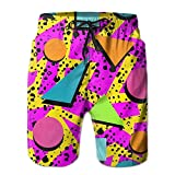 confirm vt 80s Memphis Men's Boy's Casual Quick-Drying Beach Pant Swim Surf Shorts
