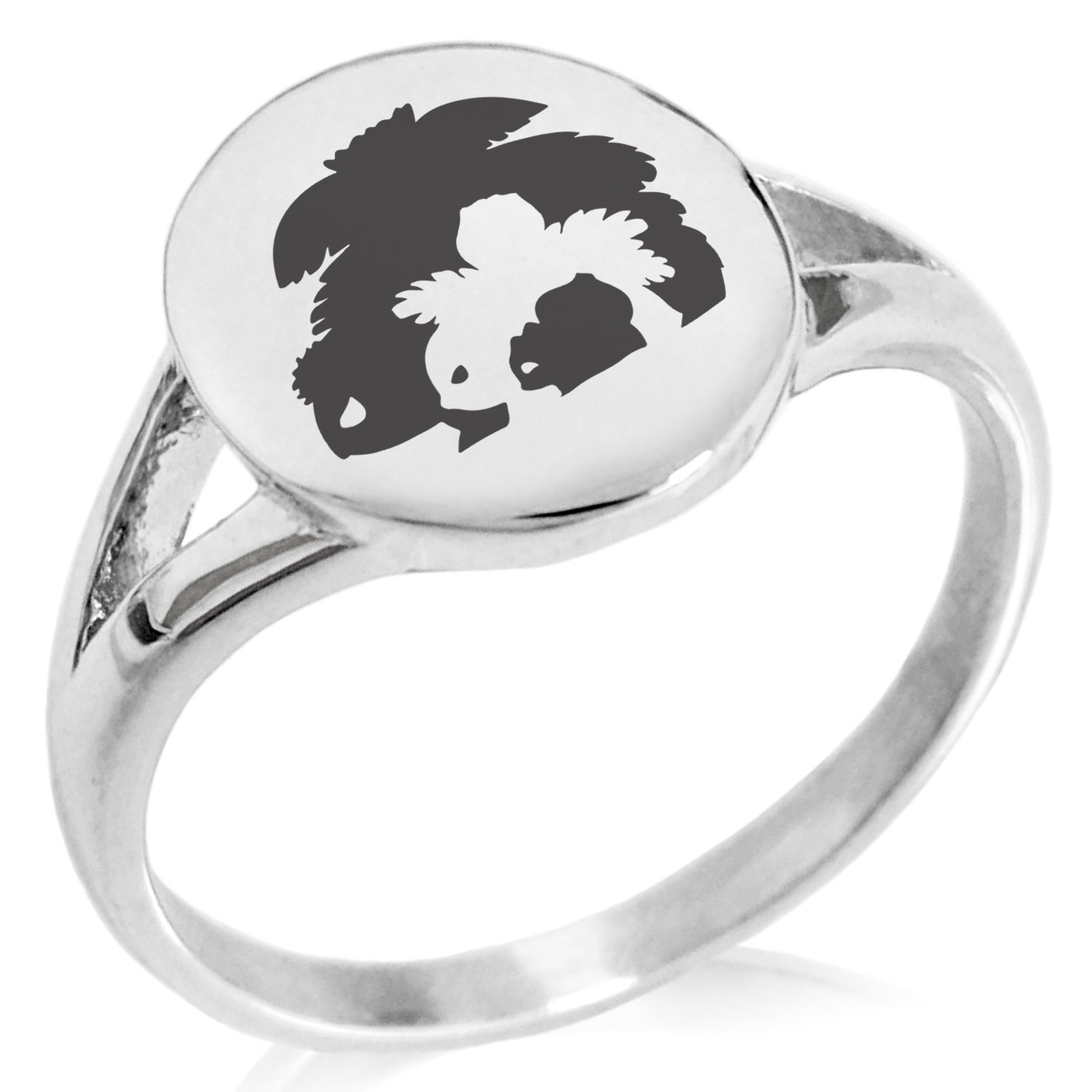 Tioneer Stainless Steel 1st Gen Bulbasaur Ivysaur Venusaur Pokemon Minimalist Oval Top Polished Statement Ring, Size 5 by Tioneer (Image #1)