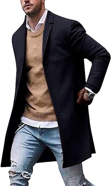 Veste Homme Overcoat Casual Solide Col Slim Manteau Long