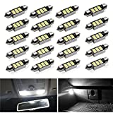 Viesyled 36mm Festoon LED Bulbs White Super Bright LED Interior Car Lights 12-SMD 4014 Chipset Canbus Error Free Car Interior Dome Map License Plate Dash Board Cargo Trunk Door Lights Pack of 20