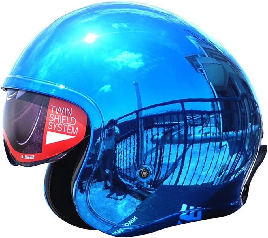 OUTO Personalidad Masculina Y Femenina Locomotora Eléctrica Cuatro Estaciones Sombrero Motocicleta Retro Medio Casco Tres Cuartos Casco (Color : Plating Blue, Size : L)