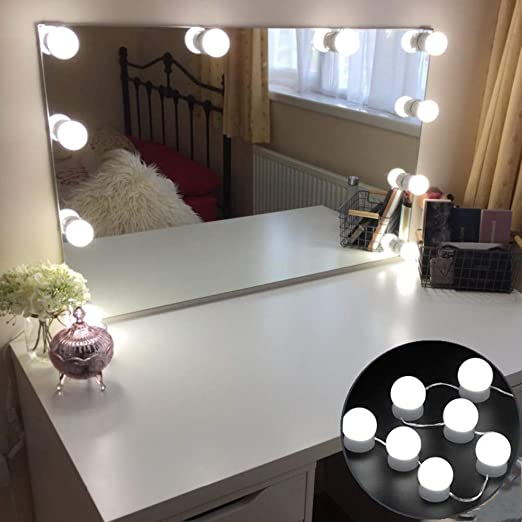 Luces de espejo retrovisor LED estilo Hollywood con 10 bombillas LED regulables para maquillaje y tocador