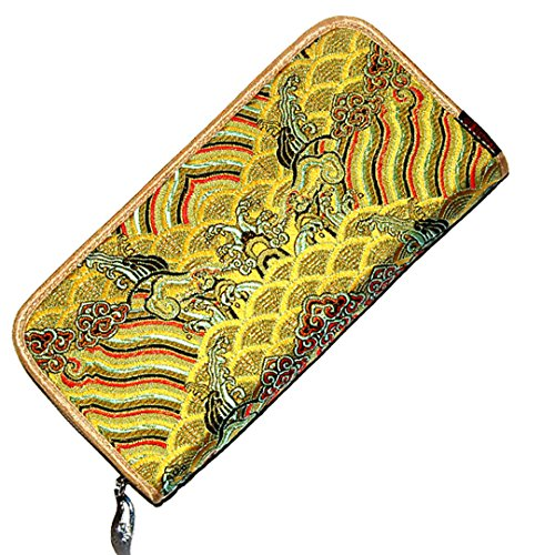 Chinese Silk Brocade Satin Pouch Ocean Wave Handbag Coin Purses Long Wallet Yellow