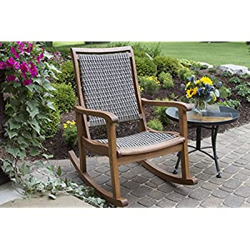 Amazon  Outdoor Interiors Resin Wicker and Eucalyptus Rocking