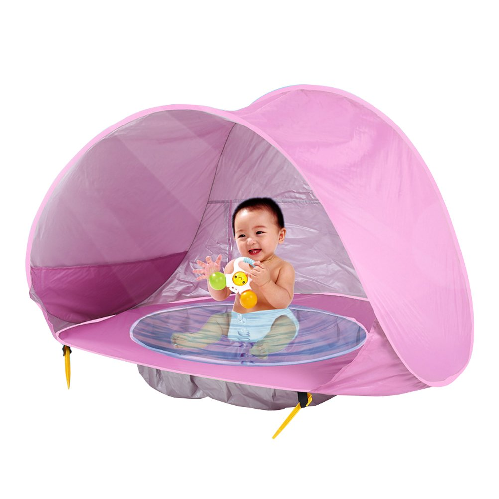Woworld Baby Beach Tent 50+ UV Protection Tent Sun Shelter Playhouse with Mini Water Pool for Kids Pop Up Foldable Shade for Infants Toddlers for Outdoor and Indoor Use(Pink)