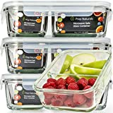 Glass Meal Prep Containers Glass 2 Compartment - Glass Food Storage Containers with Lids - Glass Tupperware Set Glass - Food Prep Containers Meal Prep Container Bento Lunch Box Containers [3pk, 25oz]