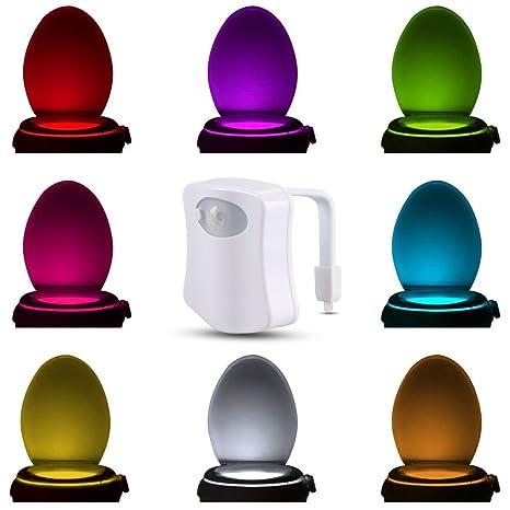 Luz nocturna para inodoro Iwilcs LED con sensor de movimiento activado, funciona con pilas,