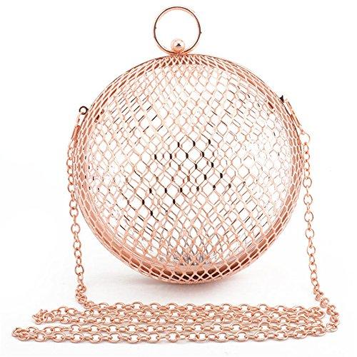 À Sacs Femmes Out Cage RoseGold Ball Sacs Creux Métal Bandoulière Orfila Soirée Clutch dZwtqII