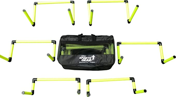 """Set Of 6 Adjustable Agility Hurdles Set 6/"""" or 12/"""" With Carry Bag"""
