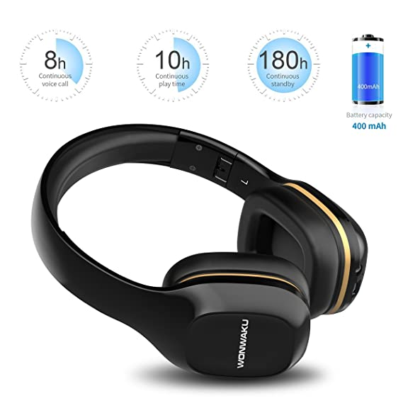Amazon.com: Auriculares Bluetooth Sobre la oreja, wonwaku ...
