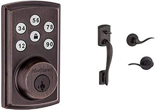 Kwikset SmartCode 888 Z-Wave Plus Touchpad Electronic Deadbolt featuring SmartKey Security and Avalon Handleset with Tustin Right-Handed and Left-Handed Lever, Works With Alexa via SmartThings, Wink, or Iris in Venetian Bronze