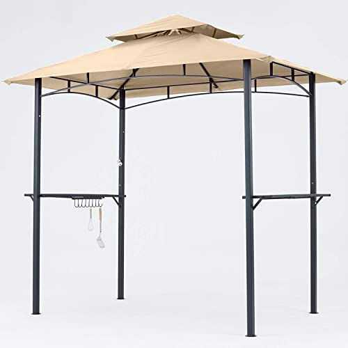 MASTERCANOPY Grill Gazebo 8 x 5 Double Tiered Outdoor BBQ Gazebo Canopy with LED Light Khaki