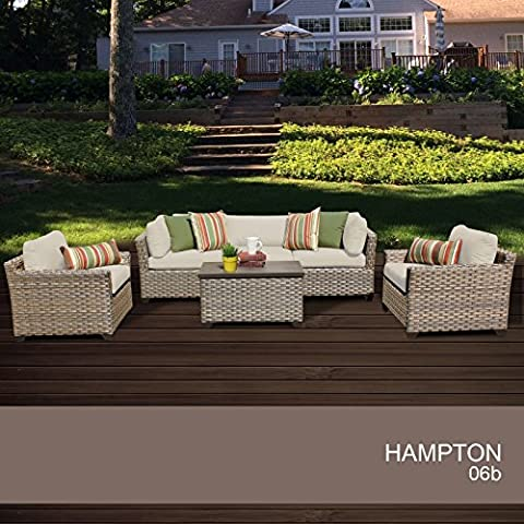 Hampton 6 Piece Outdoor Wicker Patio Furniture Set 06b - Classic Spring Club Chair Frame