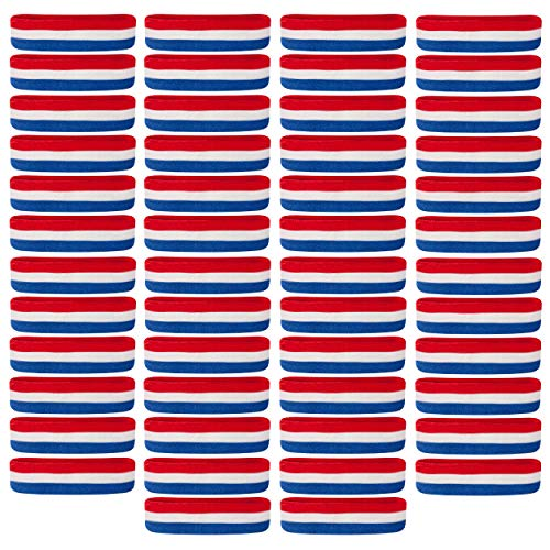 Suddora Sweatbands/Headbands - Terry Cloth Athletic Basketball Head Sweat Bands (Bulk 50-Pack) (Red White Blue)