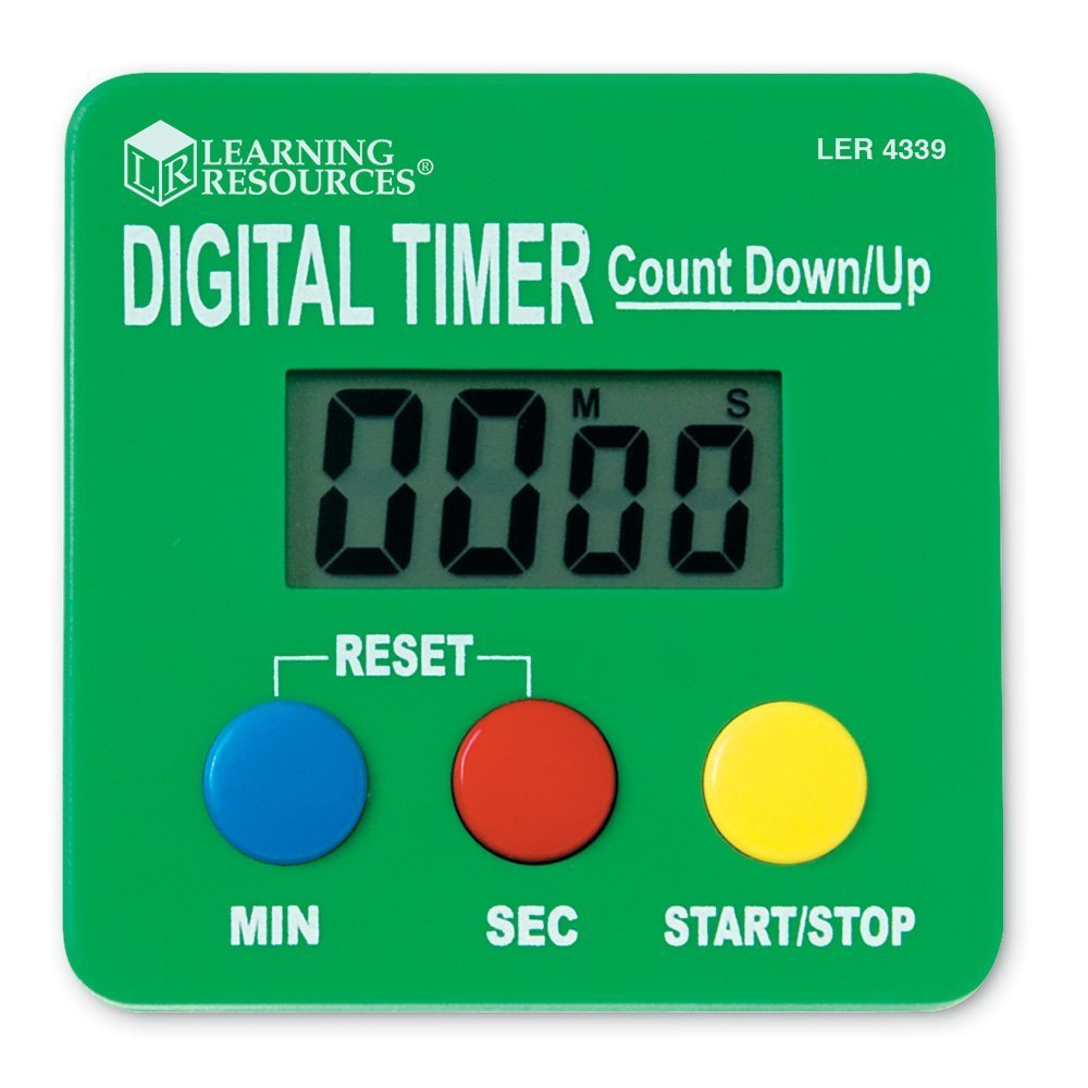 """Learning Resources Digital Timer, Count Down/Up, Displays Seconds/Minutes, Ages 5+,Multicolor,2.75 """"x 2.75"""""""