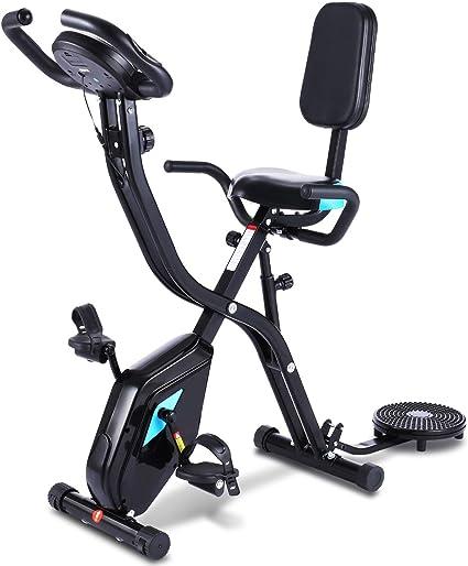 Profun Bicicleta Estática Plegable de Fitness con Respaldo Xbike con App Pantalla LCD 10-Niveles Ajustable para Ejercicio Entrenamiento en Casa (Tipo 4 Negro): Amazon.es: Deportes y aire libre