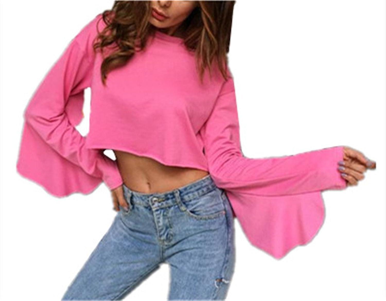 72d4ef77532e71 cheap AILIENT Sweatshirt Kurz Damen Pullover Langarm Crewneck Einfarbig  Langarmshirt Sweater Oberteile Sweat Pullover Crop Tops