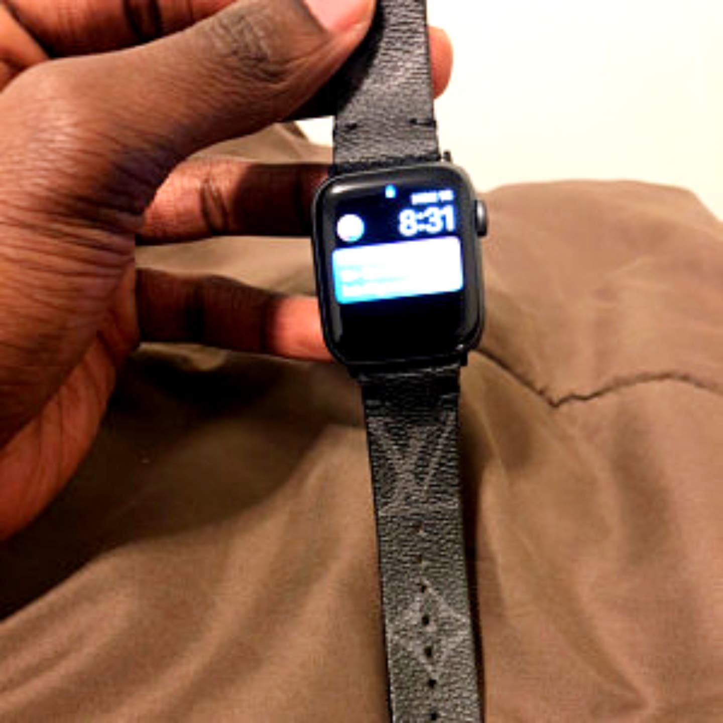Apple Watch band Black L.V. Monogram for Apple Watch Series 1, 2, 3, 4, 5 by Leatherian  Handcrafted